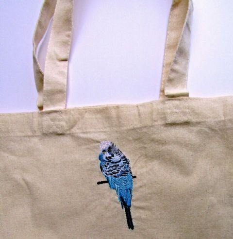 HOMEMADE CANVAS TOTE SHOPPING BAG WITH BEAUTIFUL EMBROIDERED BUDGERIGAR